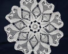 Vintage de tapete de crochet blanco por DoiliesLaceCrafts en Etsy