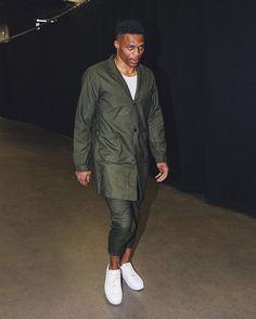 Russell Westbrook Wearing the White Jordan Westbrook 0 Low Celebrity Sneakers, West Brook, White Jordans, Cool Style, Man Style, Russell Westbrook, Nba Players, Military Jacket, Bomber Jacket