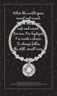 Being baptized is a treasured event that every girl wants to remember forever. Now your favorite girls can, with this beautiful silver bracelet. The unique. Ghost Poems, Lds Books, Make A Choice, Baptism Gifts, Book Gifts, Spinning, Bracelets, Daughter, Holy Ghost