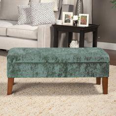HomePop Teal Velvet Storage Bench