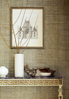 Pearl Bay #wallpaper in #wheat from the Grasscloth Resource 3 collection. #Thibaut #grasscloth