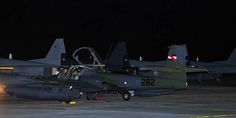 Chilean Cessna A-37 Dragonfly attack aircraft, parked with Northrop F-5 Tiger IIs, during Exercise Saltaire 2014.