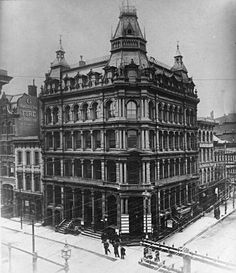 The Baltimore American (newspaper) building Corner of Baltimore Street and South Street, Baltimore, Maryland ca. 1900 Unidentified photographer inch glass negative of print Baltimore City Life. Baltimore City, Baltimore Maryland, Cumberland Maryland, Pennsylvania History, Somewhere In Time, Maps Street View, Colonial Williamsburg, Luxor Egypt, Future City