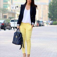 Yellow Pants, White shirt, Band Jacket, TAN shoes