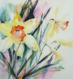 A bright and vibrant watercolour painting of daffodils. This art work has been painted using a combination of wet in wet and dry brush technique.