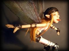 New Roller Derby Fairy (photo fat!) - POTTERY, CERAMICS, POLYMER CLAY