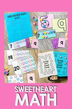 Add conversation candy or mini eraser hearts to this adorable math center! Ten frames, counting, and building numbers up to 20, plus more guided math center activities. #mathcenters #valentine #conversationhearts #minierasers