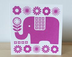 Retro 70s Elephant Pink Scandinavian Greeting Card Flowers Swedish Hand-pulled…