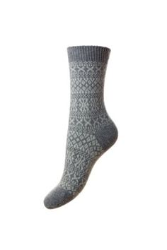 Campbell's of Beauly - Cashmere FairIsle Bed Socks Grey Ladies Socks, Bed Socks, Tweed, Cashmere, Lady, Classic, Women, Fashion, Derby