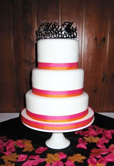 3 Tier Fushia & Orange Fall Wedding Cake