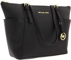 MICHAEL Michael Kors Jet Set Saffiano Top Zip Tote (Black) - Bags and Luggage