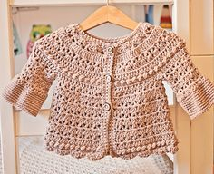 Ravelry: Bell Sleeve Cardigan pattern by Mon Petit Violon Crochet Baby Blanket Beginner, Baby Girl Crochet, Crochet Baby Clothes, Crochet For Kids, Baby Knitting, Cardigan Pattern, Crochet Cardigan, Crochet Hats, Baby Cardigan