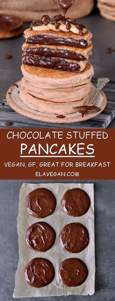 chocolate stuffed pancakes recipe, a delicious vegan and gluten-free breakfast or dessert with bananas (the filling isn't naughty a mix of coconut oil, peanut butter, cocoa powder)**GOTTA TRY THIS