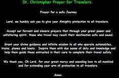St. Christopher Prayer for Travelers.   Prayer for a safe Journey