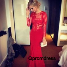 Modest prom dress, ball gown, red lace chiffon long dress with sleeves