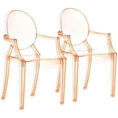 A subtle way to introduce Tangerine Tango to your home - a sleek pair of transparent chairs with just a hint of orange. Available at http://www.lampsplus.com/products/set-of-two-zuo-anime-transparent-orange-dining-chair__m7338.html