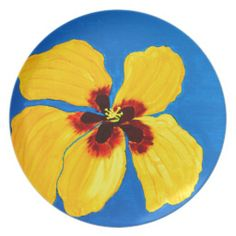Yellow Hibiscus Flower Painting Party Plates