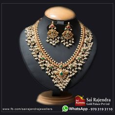 Guttipusalu necklace Sai Rajendra Gold Palace Pvt Ltd. Beautiful gold necklace with guttapusalu hangings. Necklace studded with emeralds. Necklace with matching earrings. 31 July 2018