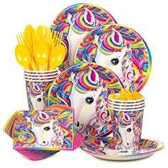 Amazon.com: Lisa Frank Rainbow Majesty Unicorn Birthday Party Supplies Pack - Serves 16: Toys & Games