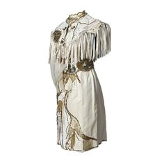 Tanya's Embellished White Leather Halter Dress Stage Ensemble with Fringe Tanya Tucker, Leather Halter, Belt Tying, Mesh Fabric, Snake Print, White Leather, Nashville, Tennessee, Printing On Fabric