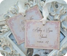 Personalized Romantic / Vintage Inspired / Cottage Chic Wedding Escort Cards / Tags - Set of 25 - Tags, Favors, Showers, Cupcake Toppers, $37.50