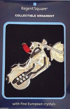 REGENT SQUARE Collectible Ornament w/Fine European Crystals - MOTORCYCLE #RegentSquare