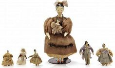 Collection of Tuck Wooden Grodnertal Dolls, Length of : Lot 430