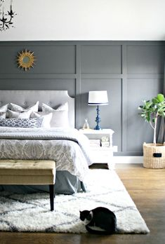 Master bedroom wall inspiration home design cool master bedroom accent wall such as bedroom accent wall Black Accent Walls, Accent Walls In Living Room, Accent Wall Bedroom, Living Room Grey, Grey Walls, Bedroom Wall Designs, Bedroom Wall Panels, Bedroom With Gray Walls, Trim On Walls