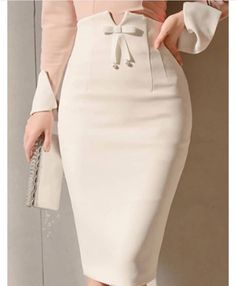 Bodycon Bowknot Zipper High Waist Women's Skirts - moda Mode Outfits, Skirt Outfits, Dressy Outfits, Jw Mode, Work Attire, Mode Style, African Fashion, Indian Fashion, Korean Fashion