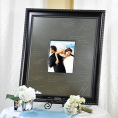 Elegant Signature Picture Frame with Engraved Photo Mat. Have the wedding party sign it. My Perfect Wedding, Cute Wedding Ideas, Wedding Pictures, Wedding Styles, Wedding Inspiration, Wedding Guest Book, Our Wedding, Dream Wedding, Wedding Stuff