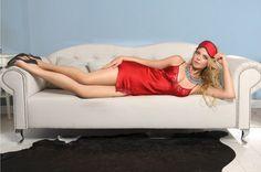 Nuisette rouge so chic en satin et dentelle italienne pour les amatrices de lingerie fine