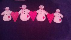 Felt snowman and heart garland