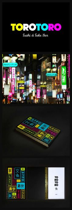 Toro Toro Sushi Restaurant Menu Design is inspired by the city lights surrounding the restaurant. Highlighting the colors in the menu design, brings in the persona of the restaurant also establishing a brand personality.