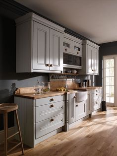 The Painted Kitchen Collection- Edwardian. Cut off L curve of counter, lager cabinet add an island! Kitchen Redo, New Kitchen, Kitchen Dining, Kitchen Remodel, Kitchen Ideas, Kitchen And Bath Remodeling, Home Remodeling, Cottage Kitchens, Home Kitchens
