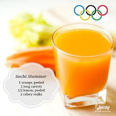 "Go for the gold with the ""Sochi Slammer"" juice recipe! Easy Juice Recipes, Juicer Recipes, Smoothie Recipes, Just Juice, Healthy Juices, Healthy Detox, Healthy Smoothies, Eat Healthy, Healthy Drinks"