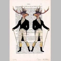 2 Dandy deers  Mixed MediaDigital Illustration by Cocodeparis, $10.00
