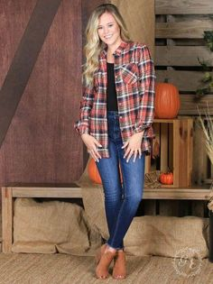 bb9ebe1bc3e99b This perfect plaid features a distressed hem. Model is 5'2 and is wearing