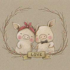 Ilustración infantil cerditos San Valentín