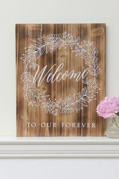 "Find the Style Me Pretty Welcome To Our Forever Wooden Sign at Michaels. Welcome wedding guests to the festivities with this ""Welcome to Our Forever"" wooden sign! Wooden Wedding Signs, Wedding Signage, Wood Wedding Decorations, Diy Wedding Gifts, Wedding Crafts, Diy Wedding Projects, Fall Wedding, Wedding Ceremony, Wedding Shit"