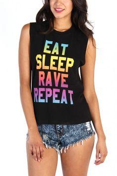 LoveMelrose.com From Harry & Molly | Eat Sleep Rave Repeat Tank Top - Black