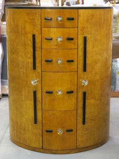 ART DECO BIRDSEYE MAPLE DEMILUNE CHIFFEROBE : Lot 626