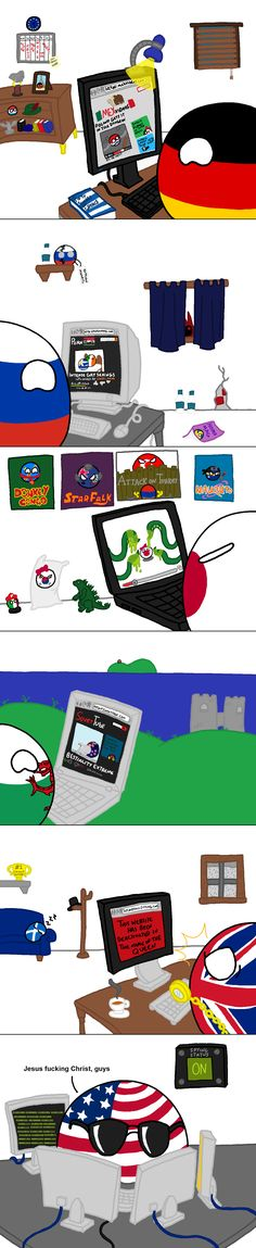 Internet Behaviour 2: Porn Edition ( Germany, Russia, Japan, Wales, UK, USA ) by John V98  #polandball #countryball