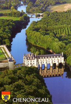 I love the placement of Chateau Chenonceau. It was started and designed be Diane de Villiers, mistress to Henry IV.