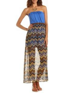 belted chevron maxi dress