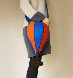 Hot Air Balloon Felt Bag Multicolor by krukrustudio on Etsy
