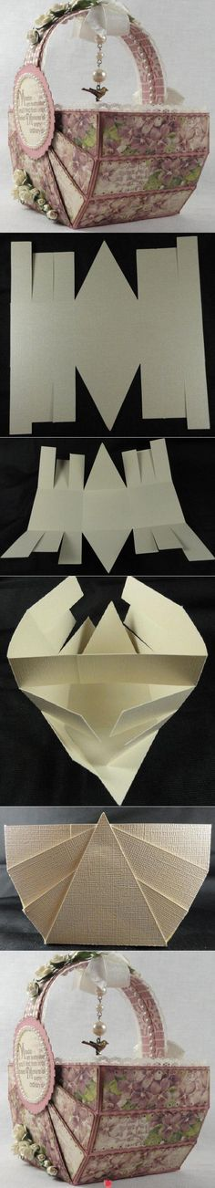 """12x12"""" paper, score at 1.1/2, 3, 4.1/2, 7.1/2, 9 and 10.1/2. Turn paper en score at 4"""" and 8"""". Cut 2 of the strips 1"""" shorter."""