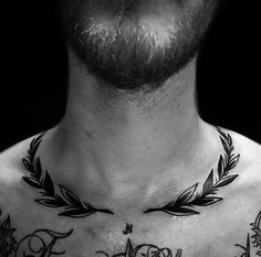 Lorbeerkranz Tattoo :] - Lorbeerkranz Tattoo :] - for men on chest hombre ideas for guys ideas for men for men Collar Bone Tattoo For Men, Collar Tattoo, Neck Tattoo For Guys, Tattoo Hals, Tattoos For Guys, Tattoos For Women, Colar Bone Tattoo, Bone Tattoos, Finger Tattoos