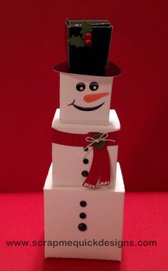 Day 25 Days of Christmas Projects Inspiration - using Samantha Walker Snowman Stacking Boxes 25 Days Of Christmas, Christmas Gift Wrapping, Christmas Gifts For Kids, Christmas Snowman, Christmas Projects, Christmas Ornaments, Diy Snowman Gifts, Snowman Decorations, Snowman Crafts