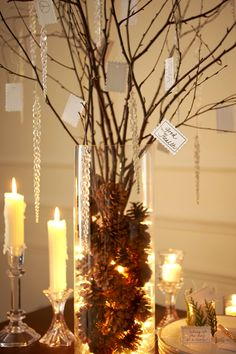 """Fill clear vase with a strand of clear lights.  Hang icicles or ornaments from branches.  From blogger pinned: """"A nice touch for a New Year's party is to have small cards and a pen set up near a tree. During the night, encourage your guests to write down their wish for the New Year on one of the cards and hang it on the tree. At midnight gather around the tree and make a toast to all of your hopes and wishes for the New Year that lies ahead.""""  Could do this for party or make a family…"""