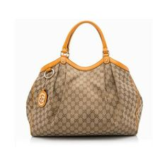 Pre-Owned Gucci GG Canvas Sukey Large Tote ($850) ❤ liked on Polyvore featuring bags, handbags, tote bags, brown, canvas totes, brown tote purse, brown handbags, gucci handbags and canvas tote purse